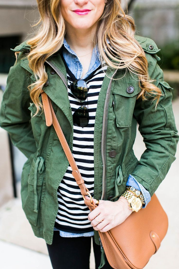 c0957ed1e9 Brighton The Day. military jacket layered over black and white stripes and chambray  shirt  fall  ootd  style