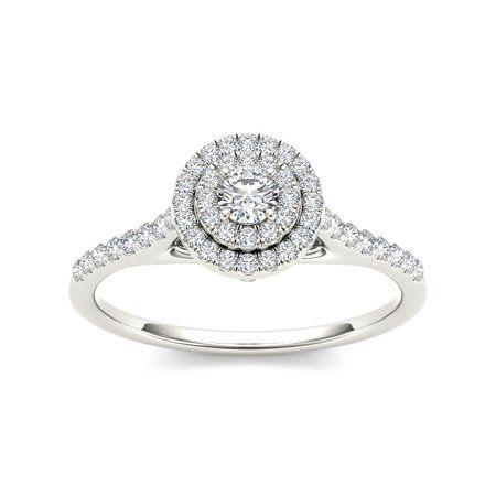 3 4 Carat T W Diamond 10kt White Gold Pear Shape Composite Engagement Ring Shop Engagement Rings Engagement Rings Double Halo Engagement Ring