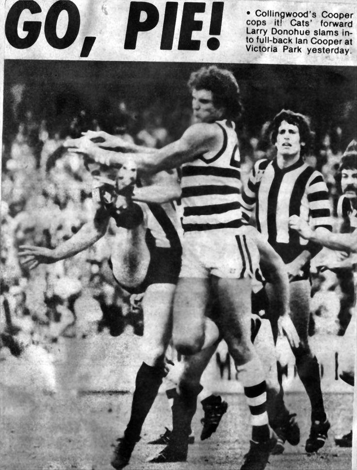 Larry Donahue (Geelong) v Ian Cooper (Collingwood) - Scrapbook 1977