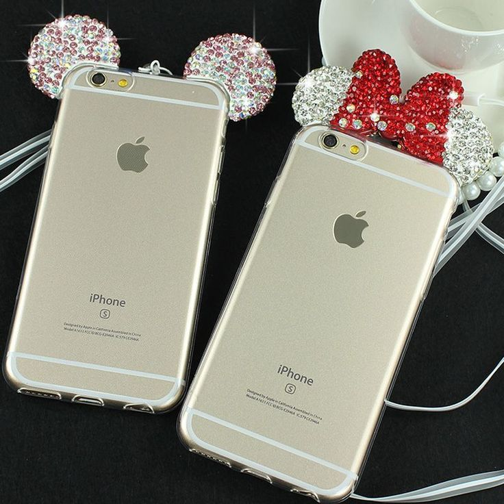 3D Diamond Minnie Mickey Mouse Case For iPhone 6 6S 6 Plus 6S Plus Rhinestone ears Soft Transparent TPU phone Covers Cases Bags #iphone6cases, #iphone6splus,