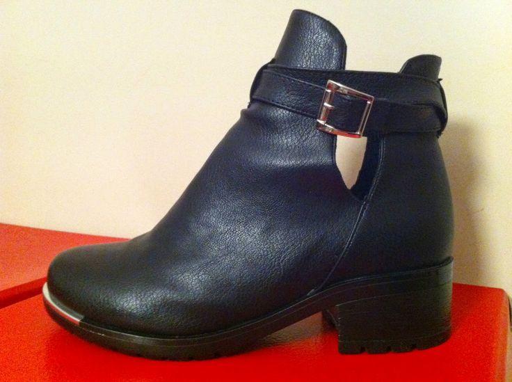 cut out boots ankle boots siyah suni deri bot Bambi Trendyol