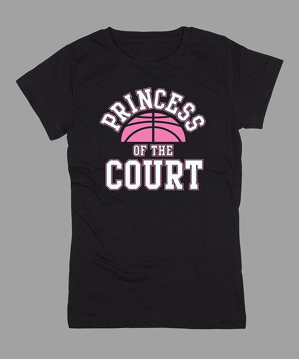 This KidTeeZ Black 'Princess of the Court' Fitted Tee - Girls by KidTeeZ is perfect! #zulilyfinds basketball girl little girl basketball