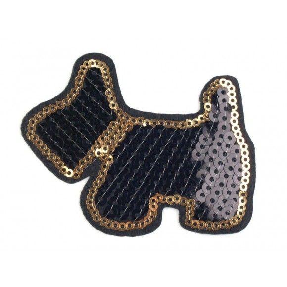 Aufbügler mit Pailletten Hund – schwarz