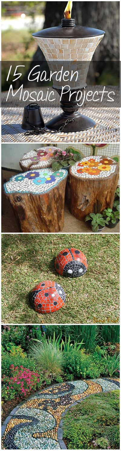 """15 Garden Mosaic Projects- Great ideas for outdoor DIY mosaic decor for your yard. [ """"Garden project, mosaic projects, DIY garden mosaic, simple garden mosaics, tips…"""", """"15 Garden Mosaic Projects- Great ideas for outdoor DIY mosaic decor for your…"""", """"Gardening, home garden, garden hacks, garden tips and tricks, growing plants…"""", """"15 Garden Mosaic Projects - I love mosaic projects and I love a funky garden. The mosaic stumps and fire pit are great ideas we may just try!"""", """"DIY Garden..."""