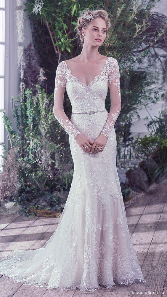 MAGGIE SOTTERO bridal fall 2016 illusion long sleeves vneck sheath lace wedding dress / http://www.himisspuff.com/long-sleeve-wedding-dresses/12/