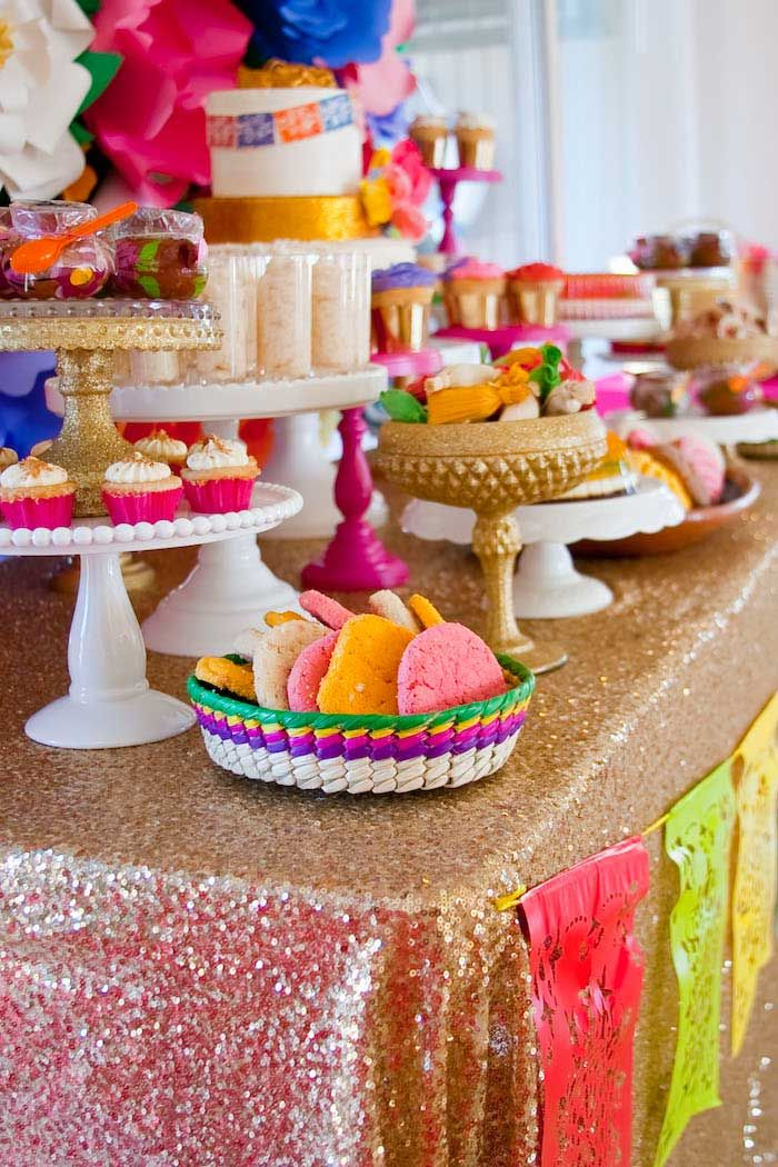 Colorful mexican themed baby shower with lots of really for Baby full month decoration ideas