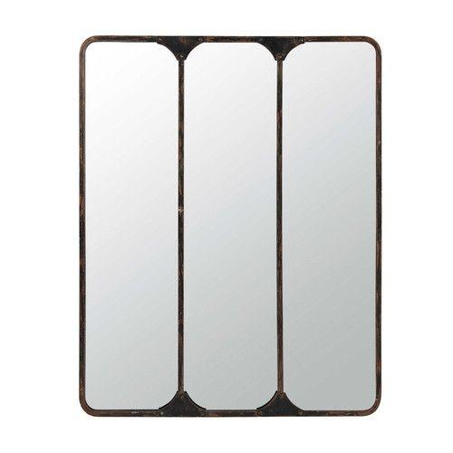 miroir triple en m tal noir h 159 cm titouan escalier. Black Bedroom Furniture Sets. Home Design Ideas