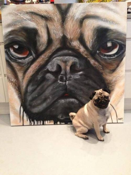 Pug art from England