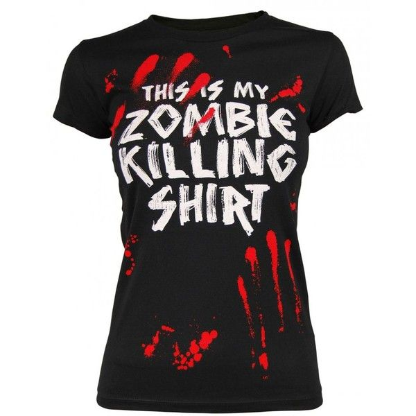 Goodie Two Sleeves Ladies Zombie Killing T Shirt, Black ($30) found on Polyvore