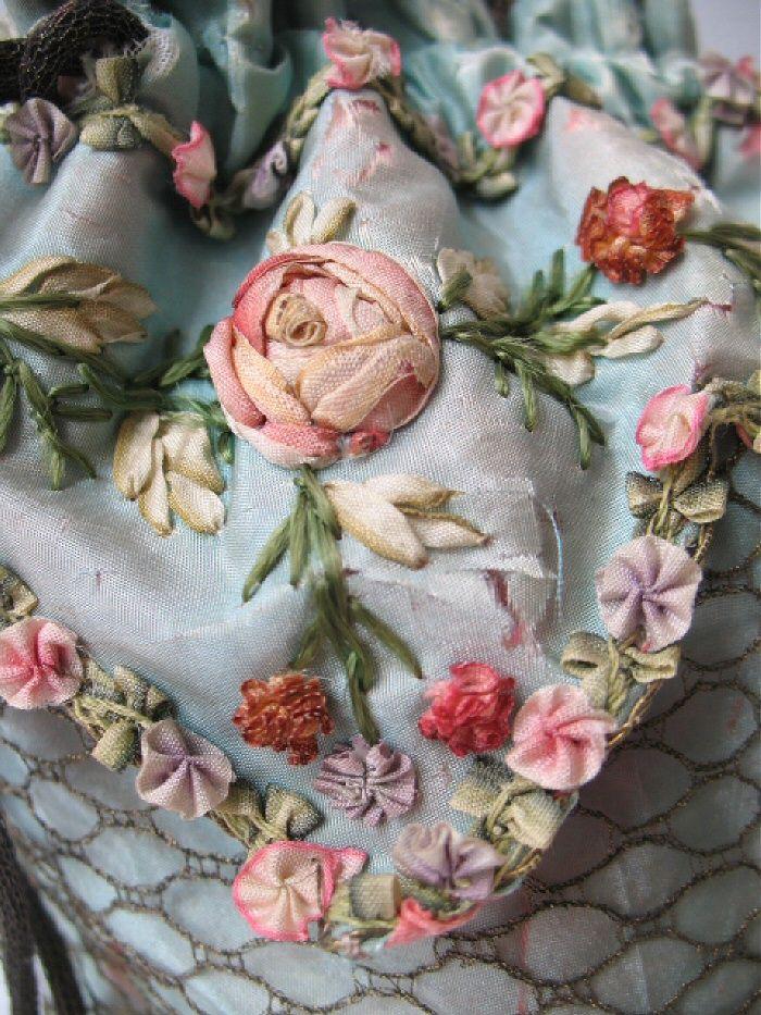 I ❤ ribbonwork . . . details on drawstring purse, so pretty