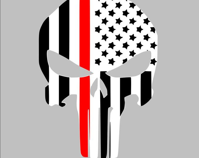 Punisher Firefighter Thin Red Line USA American Police Flag Car Decal Sticker