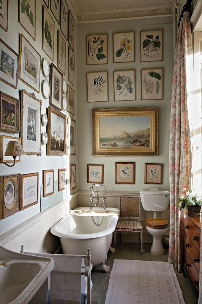 Counrty Bathroom with Gallery Wall