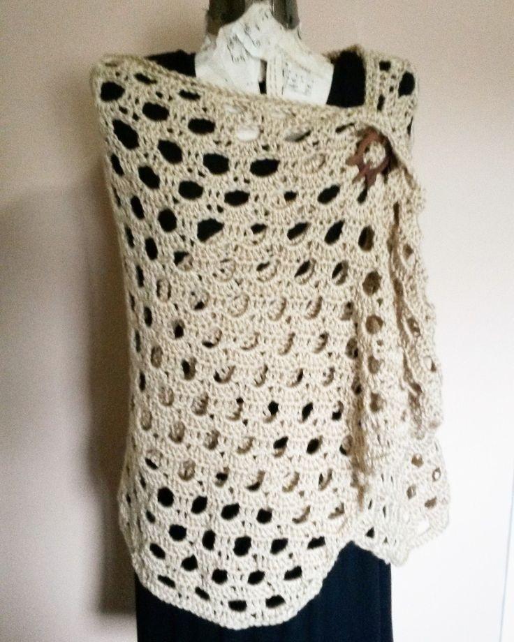 Crochet shawl with wooden sea turtle closure. $50
