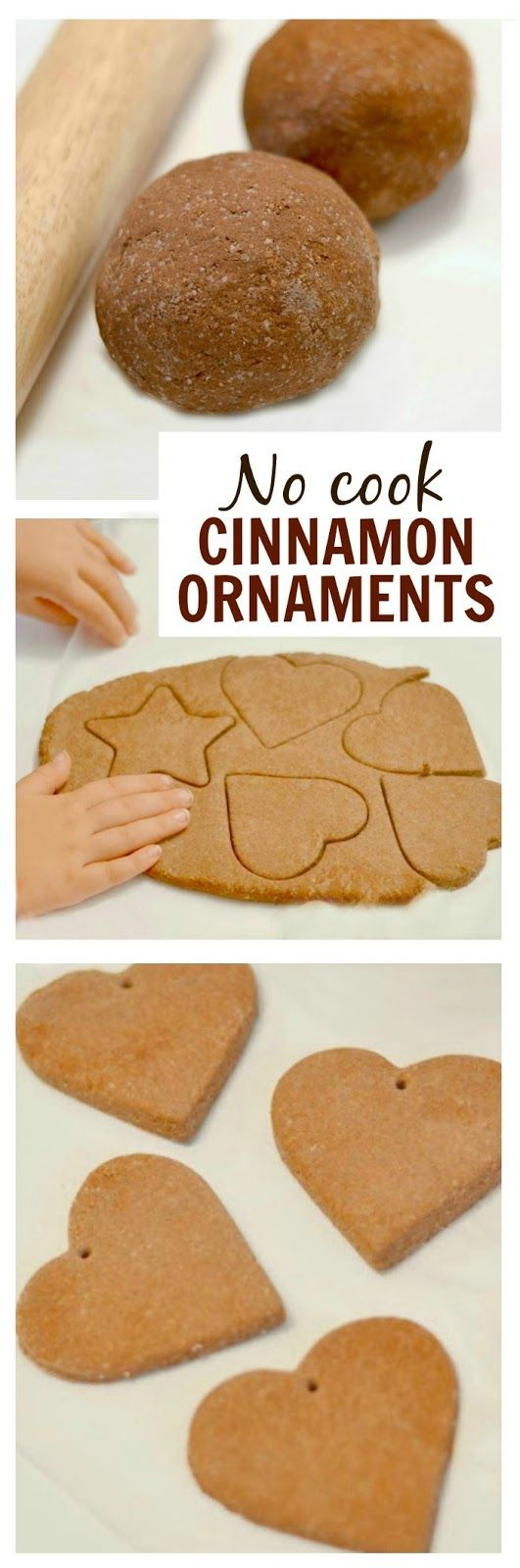 No-Cook Cinnamon Salt Dough Ornaments ~ Requires no glue in the mixture * http://www.growingajeweledrose.com/2013/11/no-cook-cinnamon-ornaments.html