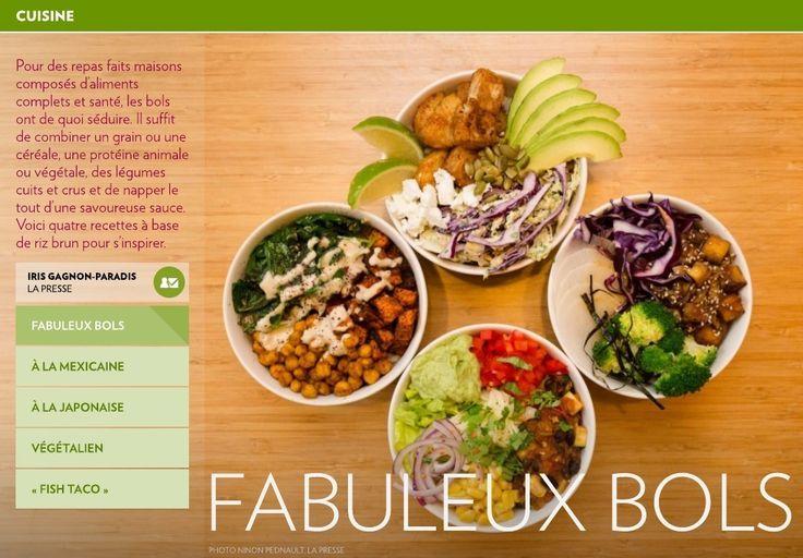 Pour des repas faits maisons composés d'aliments complets et santé, les bols ont de quoi séduire. Il suffit de combiner un grain ou une céréale, une protéine animale ou végétale, des légumes cuits et crus et de napper le tout d&rsquo