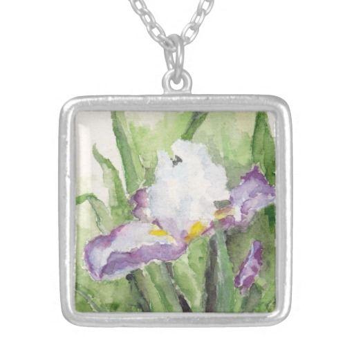 Soft Watercolor Iris Necklace #TallBeardedIris #IrisGifts