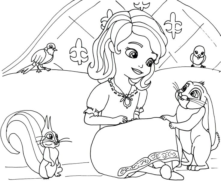 Click here to print Sofia the first coloring page in her night gown outfit with her pets, Mia Robin, Whatnaught and Clover