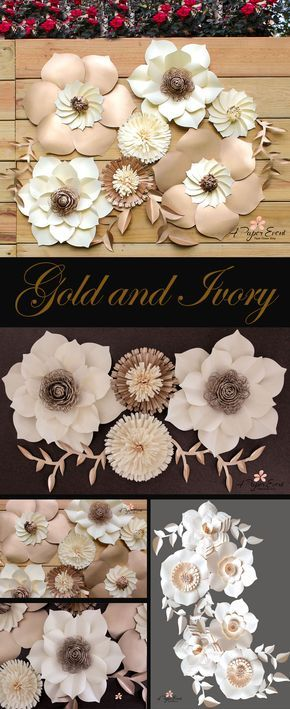 Be inspired with these elegant metallic gold and ivory wedding backdrops. Stunning!