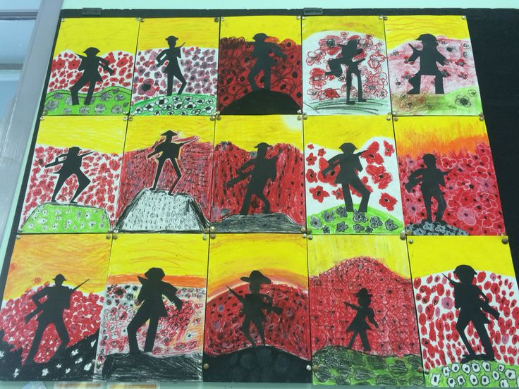 ANZAC Art. How good do these look?! Stage 3 - lone soldier + red poppies. Not my idea (taken from Pinterest) but was thrilled with how they turned out.