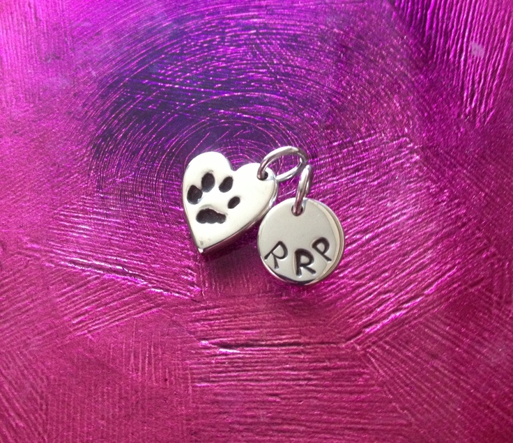 Small paw print charm with initialled charm