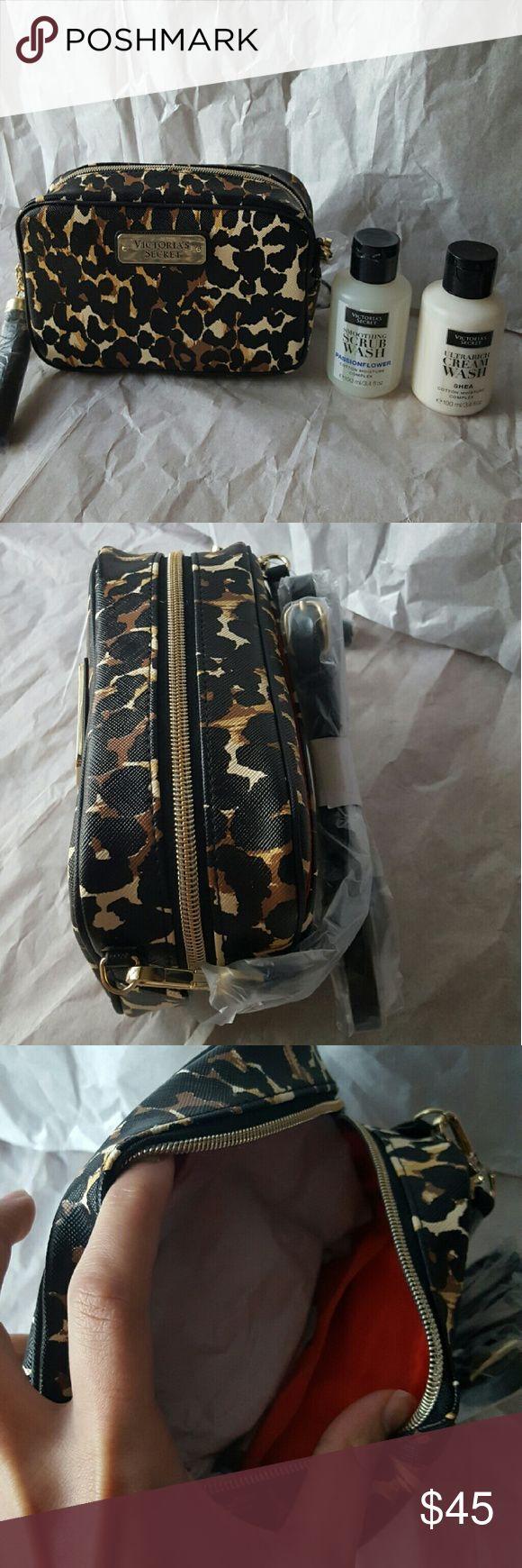VS Leopard pront crossbody & moisture complex bund crossbody smoothing scrub wash passionflower ultrarich cream wash shea Victoria's Secret Bags Crossbody Bags