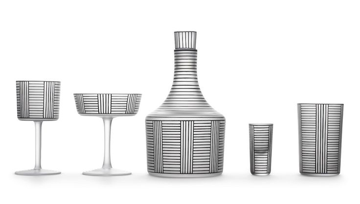 Glassware designed by Josef Hoffmann and was first exhibitioned in 1914 in Germany. These products were made made by blowing the glass into beech wood moulds, this allowed the glass to be noticeably thin and incorporate rows and columns of black lines which gave it a classical feel. It used a skilled craft to produce the product and was not done by a machine. J, Thorne, 2014. Cool Hunting. [Online]. Available at: http://www.coolhunting.com/design/series-b-glasses-by-josef-hoffmann-lobmeyr