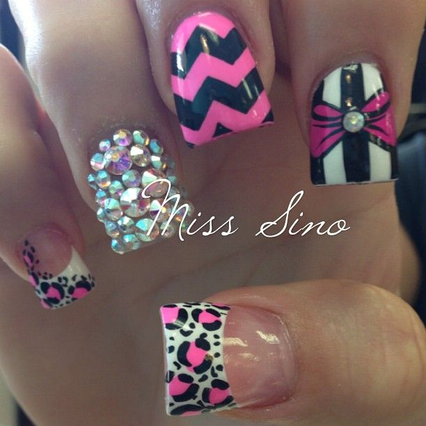 141 best nails images on pinterest acrylic nail art nail art love love love the leopard and the bling will prob be my next nails but with black on the rest and bows prinsesfo Choice Image