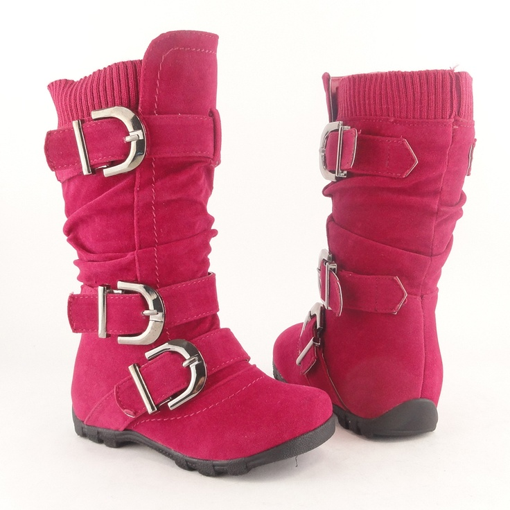 Toddler Girls Flat Slouch Knee High Suede Boots Fuchsia strappy buckle warm shoe | eBay