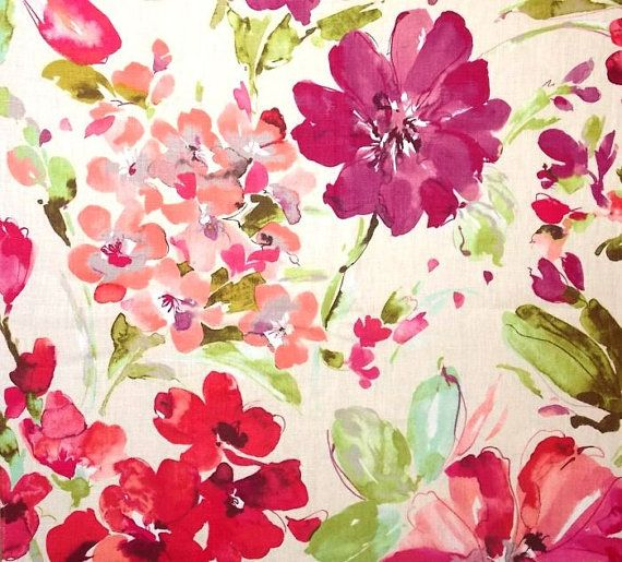 "Watercolor Floral Curtain Panels, Pink Floral Drapes, Linen Window Curtains, Pink Bedroom Curtains, Rod-Pocket Curtains, One Pair 50""W"