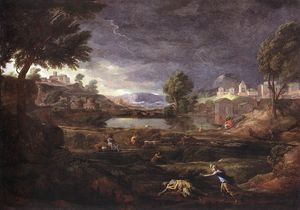 Strormy Landscape with Pyramus and Thisbe - (Nicolas Poussin)