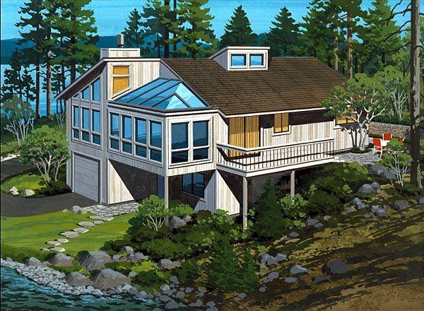 49 best hillside home plans images on pinterest house for Hillside lake house plans