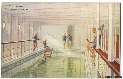 Details About Olympic Swimming Bath Interior White Star Line Titanic Sister Ship Rare Ca1911