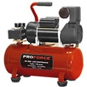 Pro-Force 3-Gallon Hot Dog Air Compressor. It is still a light-duty unit, best at keeping the tires on your car, motorcycle, or ATV at the correct pressure for the best gas mileage.    An inflation needle will keep your basketballs & volleyballs bouncing; and the rubber feet will cut down on noise & vibration.