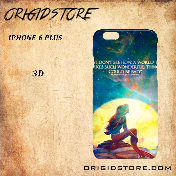 The Little Mermaid Quote Galaxy Nebula Black White Snap On 3D For Iphone 6 Plus Case