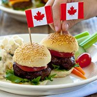 Canada Day July 1st Can get the flag toothpicks at Dollarama for a buck! Look great on the top of cupcakes that day too!