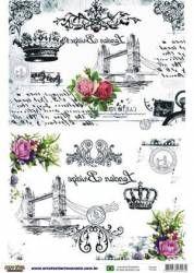 Papel para transferência com os temas: coroa, ponte, flores e arabescos.  #paper…