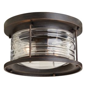 """allen + roth Stonecroft 12-in W Rust Outdoor Flush-Mount Light from Lowes.  12""""diam x 6.81""""H.  $89"""