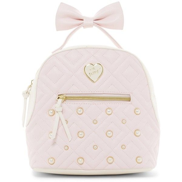 Betsey Johnson Chevron Heart Quilted Medium Backpack (130 BRL) ❤ liked on Polyvore featuring bags, backpacks, blush mult, bow backpack, chevron backpack, zipper bag, pink bag and faux-leather backpack