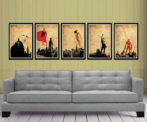 Justice League Posters Set. great super hero art work; batman, iron man, wonder woman, all of them!!