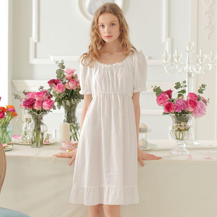 Vintage Pajamas Women Sleepwear Royal Nightgown Ladies Summer Cotton Dress Princess Nightgown Sleepwear Dress