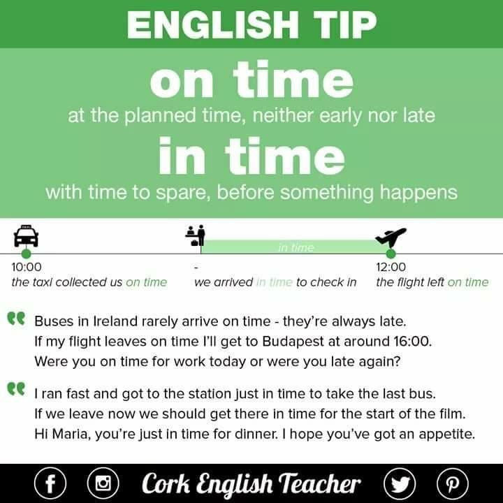 'ON TIME' & 'IN TIME' #learnengish