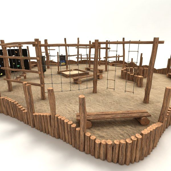 picket playground 3d obj