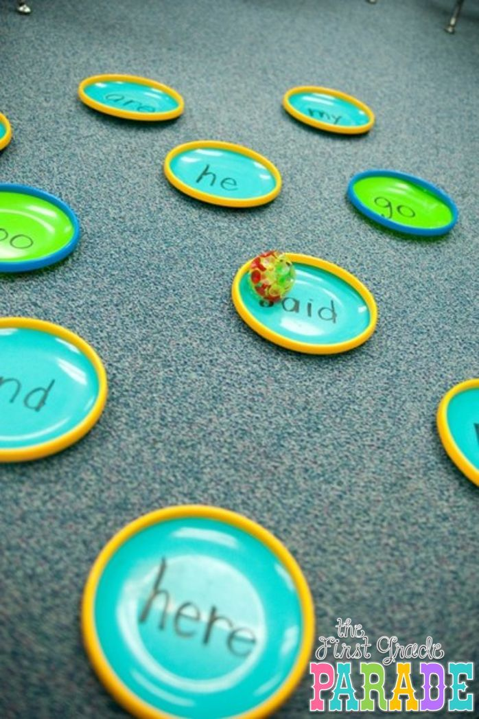 Ready, Aim, FIRE! Sight Word Game...can use paper plates too :)