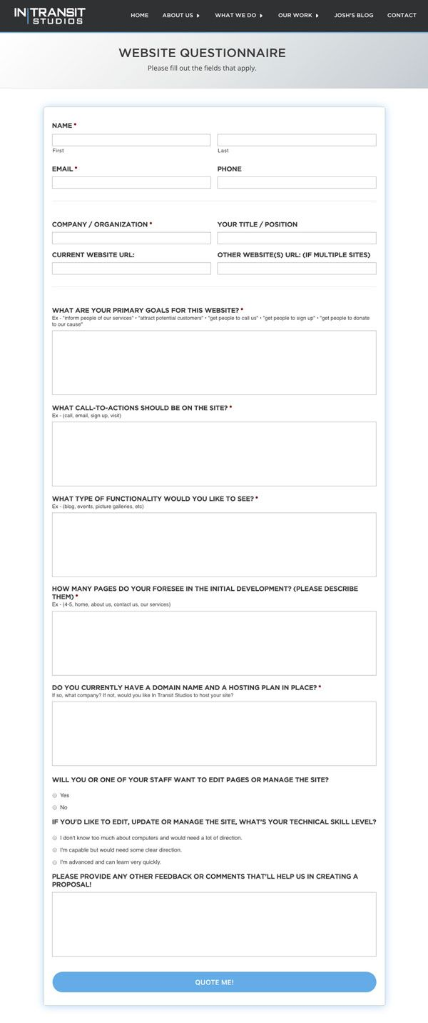 Creating A Website Questionnaire And Documentation For Your Clients Web Design Tips Simple Web Design Web Design