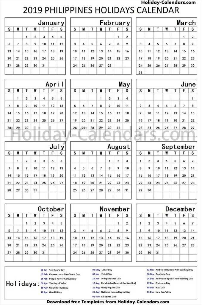 Philippines School Holidays 2019 Editable Template School Holidays