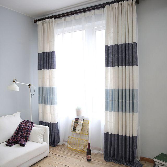 Modernen Minimalistischen Leinen Streifen Gefärbt Vorhangstoff Tüll  Wohnzimmer Schlafzimmer Vorhänge Dekoration Benutzerdefinierte