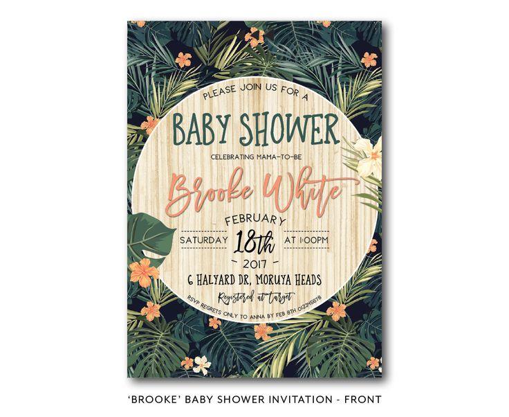 Tropical Baby Shower Invitation | Hawaiian | Jungle | Baby Shower  #frankiebeardesigns #invitations #invitationsaustralia #invitationscentralcoast #jungle #tropicalinvitation #tropicalbabyshower #luauinvitation #green #orange #palm #alohainvitation