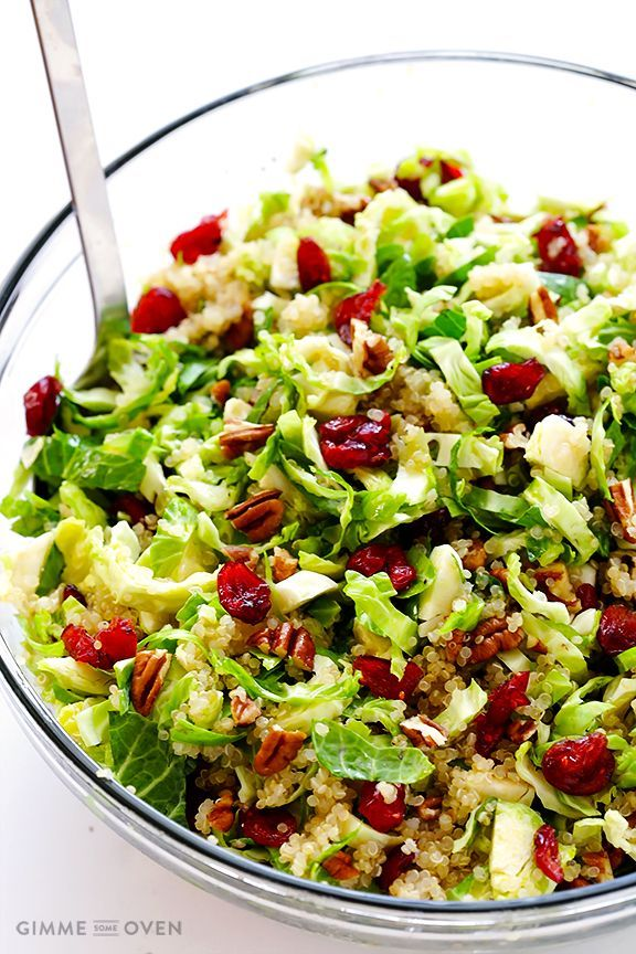 Brussels Sprouts, Cranberry and Quinoa Salad -- easy to make, and full of delicious sweet and savory flavors!   gimmesomeoven.com