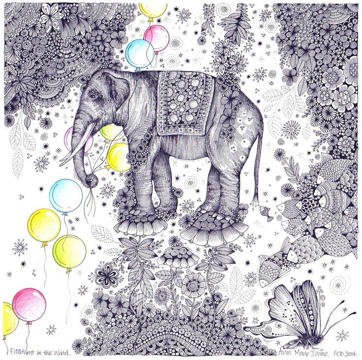 100 Colouring Elephants Zentangles A Collection