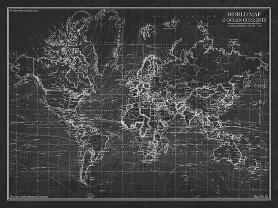 Ocean Current Map - Global Shipping Chart Prints by The Vintage Collection at AllPosters.com